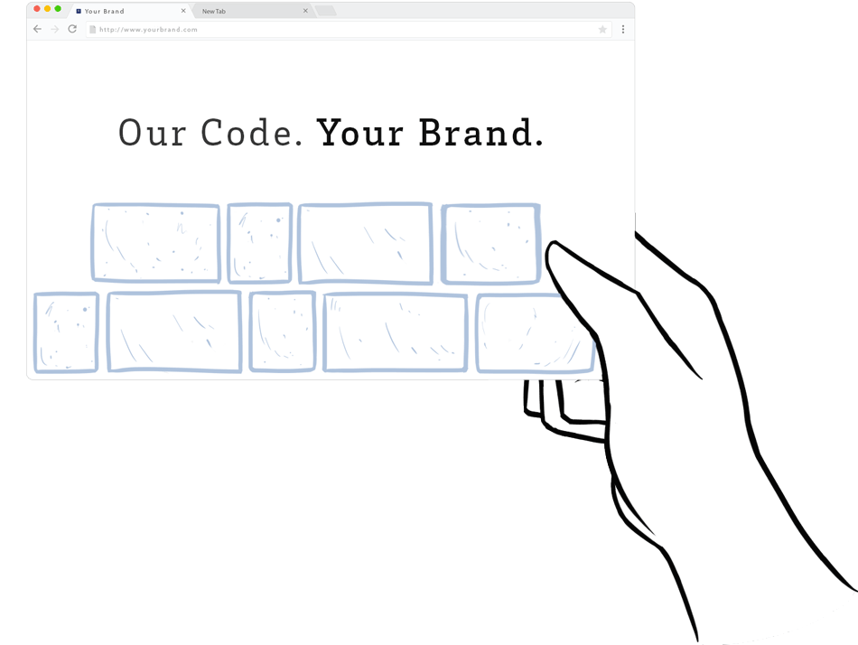 Hand holding a site page saying Our Code Your Brand